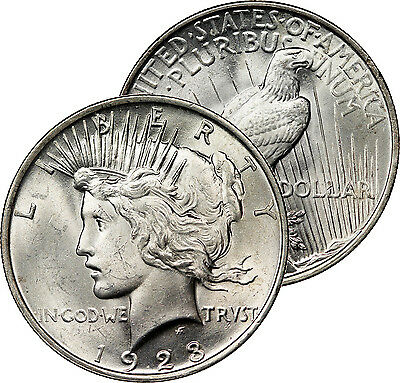 1923 Philadelphia Mint Peace Dollar Silver Mint State Coin Brilliant Uncirculate