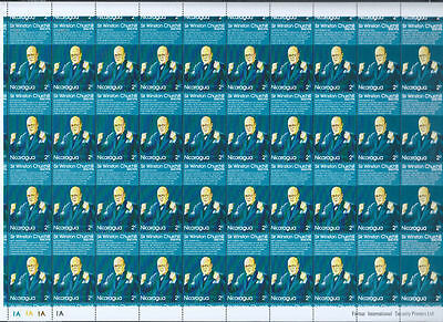 Nicaragua 1974 Sir Winston Churchill MNH Full Complete Sheet Cyl 1A-1A #S329