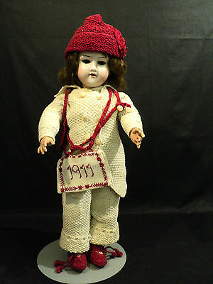 "Beautiful Antique 17"" German Bisque Head, Open Mouth Doll, Knitted Clothing"