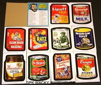 Wacky Packages Old School 3 1967 Complete Tan Set W/ Checklist 11 Sticker Cards