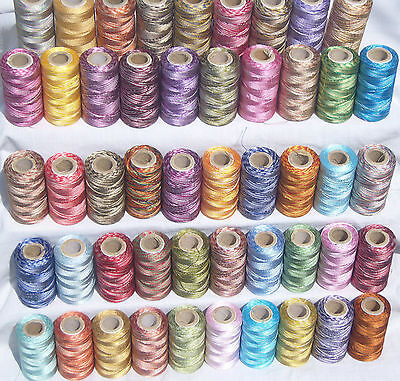 50 Double/Multi Shaded Embroidery Thread Spools 50 different Colour, Great Price