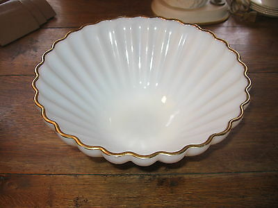"""BEAUTIFUL 11"""" SCALLOPED OPALESCENT GLASS BOWL WITH GOLD TRIM"""