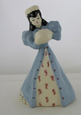 "Modglin's of Los Angeles Lady in Blue Coat w White Hat & Hand Warmer, 9"" tall"
