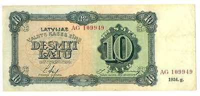 Latvia Latvian Government State Treasury Note 10 Latu 1934 VF