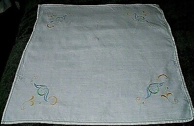 "VINTAGE EMBROIDERED LINEN TABLE CLOTH 32"" by 32"""