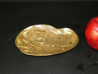 Antique Art Nouveau Bronze Figural Trinket Card  Holder  Tray Pipe Rest Ashtray