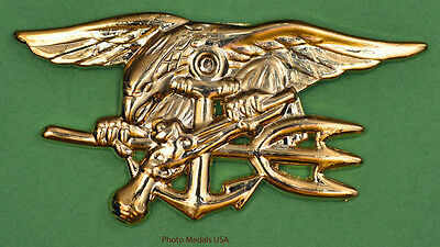 NAVY SEAL Badge Trident insignia - BUD - gold full size 2 3/4 inch