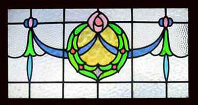 Beautiful Edwardian Rosebud & Swags Antique English Stained Glass Window