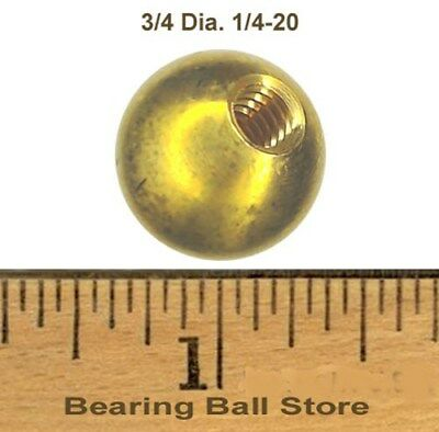 "Three 3/4"" threaded 1/4-20 brass balls drilled tapped"