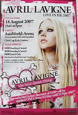 "Avril Lavigne ""live In Hong Kong Best Damn Thing 2007 Tour"" Concert Poster"