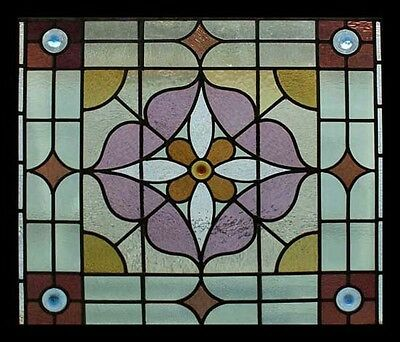 Victorian Rondels Antique English Stained Glass Window Original Frame