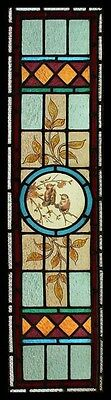 Fabulous Painted Birds Of Beauty Victorian Antique English Stained Glass Window