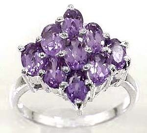 Beautiful Natural Amethyst 2.75 Carat 9 Stone Silver Ring Size 6.75   AR93