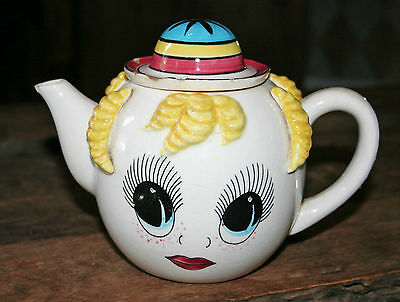 FUNKY KITCHY ANTHROPOMORPHIC TEAPOT! BRIGHT EYES CURLY HAIR GIRL! MID CENTURY