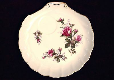 2 Hand Painted Rose Pattern Snack Plates Indented for Cups GREEN CHINA, Japan