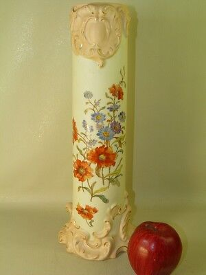 Antique Rudolstadt Germany Bisque Hand Painted Floral Tall Vase 16''High