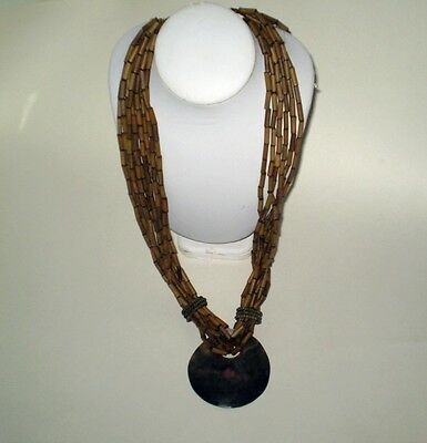 Gorgeous Tubular Wood & Rare Lip Shell HUGE & LONG 10 Strand Necklace