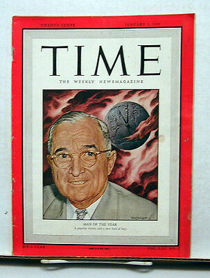 Jan 3, 1949 TIME Magazine- Harry Truman-  Man of the Year VG- Back Cover Damage