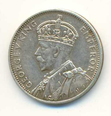 Mauritius British King & Emperor George V Silver 1/2 Rupee 1934 XF+