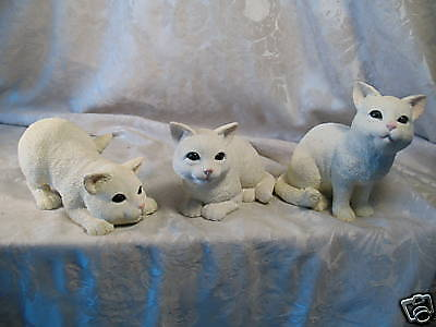 Set of 3 Domestic White Kitty Cat Figurines