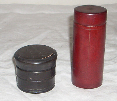 2 Antique / Vintage Hand Made Cylindrical Wooden Boxes