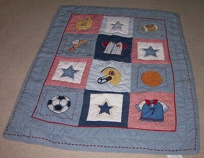 Bright Future Baby Boys Sports Comforter Blue Red Quilt