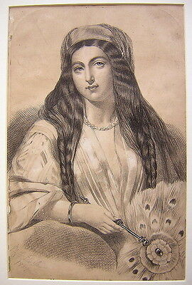 Unknown Unidentified Young Woman Portrait 1859/Antique British/Ink /19th Century