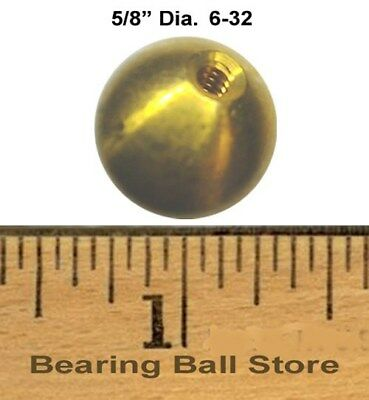 """49 5/8""""  dia.  threaded 6-32 brass balls drilled tapped"""