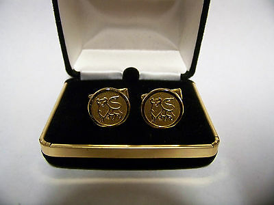 Set of MERRILL LYNCH BULL Cufflinks Gold-tone With Bull Statue  #7