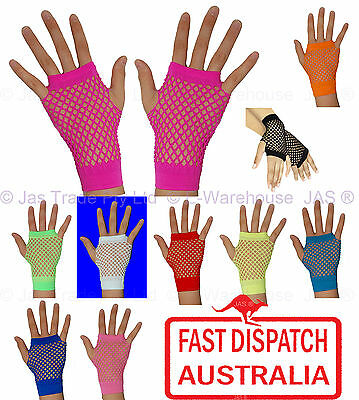 Punk Goth 80's 80s Costume Party Lace Fingerless Fishnet Dance Disco Cuff glove