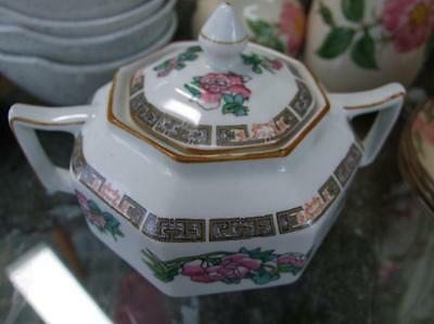 Wood & Sons LIDDED SUGAR BOWL Indian Tree Pattern OCTAGONAL Exc Condition