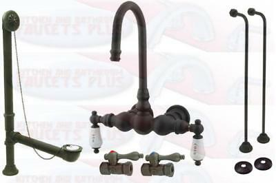 Kingston Brass Oil Rubbed Bronze Clawfoot Tub Faucet Kit With Drain & Supplies