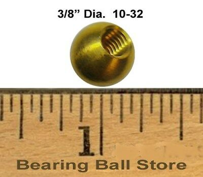 "Ten 3/8"" threaded 10-32 brass balls drilled tapped knobs"