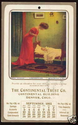 1911 DENVER, CO ADV CALENDAR POSTCARD The Continental Trust Co.
