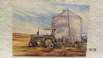 Vintage Post Card John Deere Tractor Wishing for Field Work from Crouse Painting