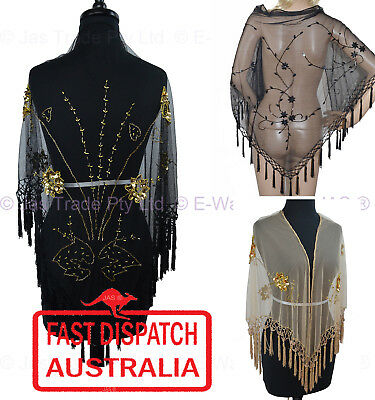 1 Beaded Evening Shawl Scarf Wrap Sequins Sequinned Triangle 9 Styles STUNNING