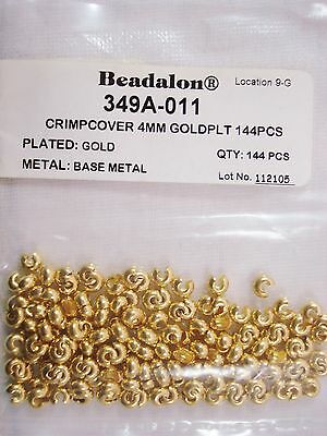 Beadalon Crimp Covers Gold Plated 4mm Pack of 144 Jewellery Beading FREE POSTAGE