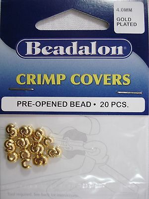 Beadalon Crimp Covers Gold Plated 4mm Pack of 20 Jewellery Beading  FREE POSTAGE