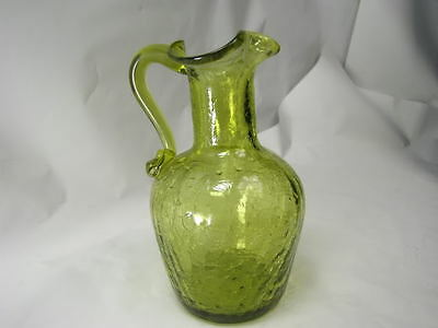 Vintage Crackle Green Glass Cruet