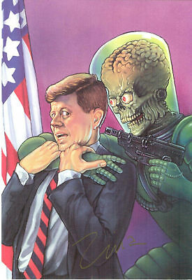 Mars Attacks Zina Saunders Signed Jfk Captured Print