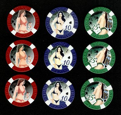 POKER STRIP Casino Chip Set of 9 Chips.