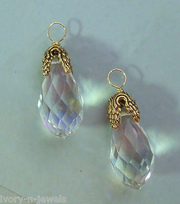 STUNNING LG Faceted Leafed Crystal INTERCHANGEABLE Earring Charms YG or SS