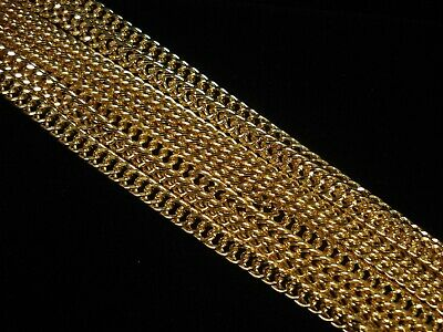 1m Gold Double Diamond Cut Chain 5mm Wide Jewellery Necklace FREE POSTAGE