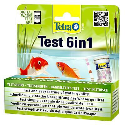 TETRA POND 6 in 1 DIP TEST STRIPS pH KH GH NO2 NO3 CL2 KOI FISH WATER QUALITY