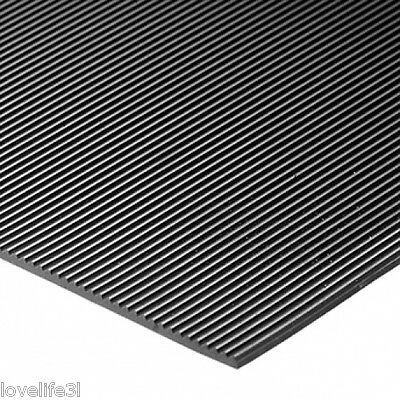 "3mm THICK FINE RIBBED BLACK RUBBER MATTING MAT 1.2m X 0.25m 48""x10 RIBS PER INCH"