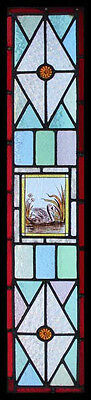 Antique English Stained Glass Victorian Painted Swan On River Sidelight Window