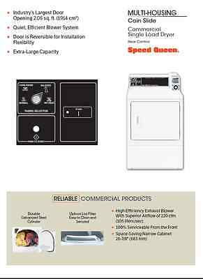 SPEED QUEEN SDE907WF Coin Slide Operated Commercial Electric Dryer