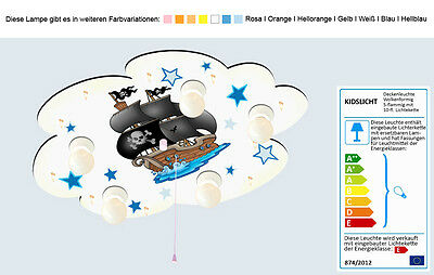 kinderlampe piratenschiff m nachtlicht kinderzimmer deckenlampe baby wei bl eur 75 00. Black Bedroom Furniture Sets. Home Design Ideas