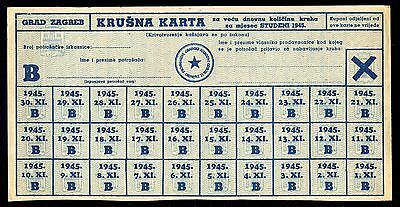 Yugoslavia - Partisan Coupons For Bread For Month November 1945. Complete Token.