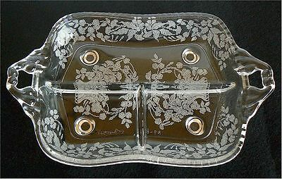 NEW MARTINSVILLE MEADOW WREATH GLASS DIVIDED RELISH DISH TRAY FLORAL BASKET